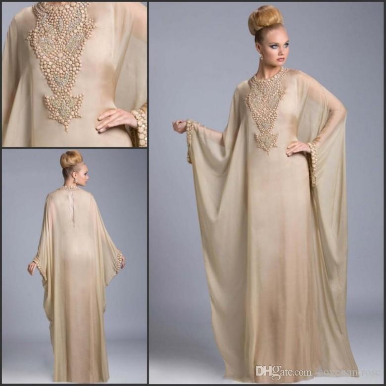 Champagne Dubai Kaftan Long Chiffon Evening Dresses Beaded Crystals