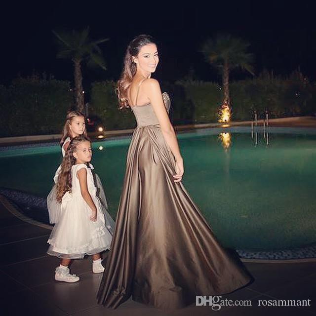 Long Prom Dress with Sheer Straps Satin A Line With Beading Work Prom Party Dress