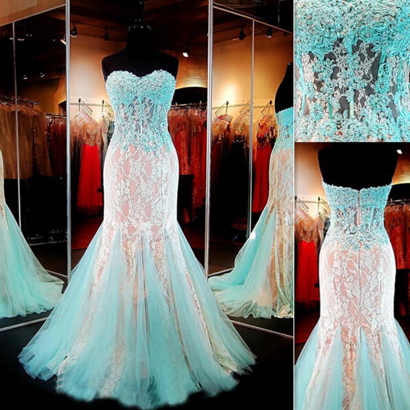 Großhandel Real Fotos Prom Kleider 2016 Mint Green Mermaid Spitze ...