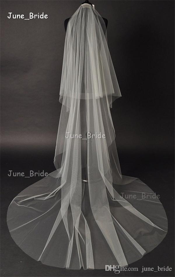 Simple Elegant Long Veil Cathedral Bridal Veil 2T Three Meter with Comb Pure Tulle Cut Edge Wedding Accessory High Quality Two Layers