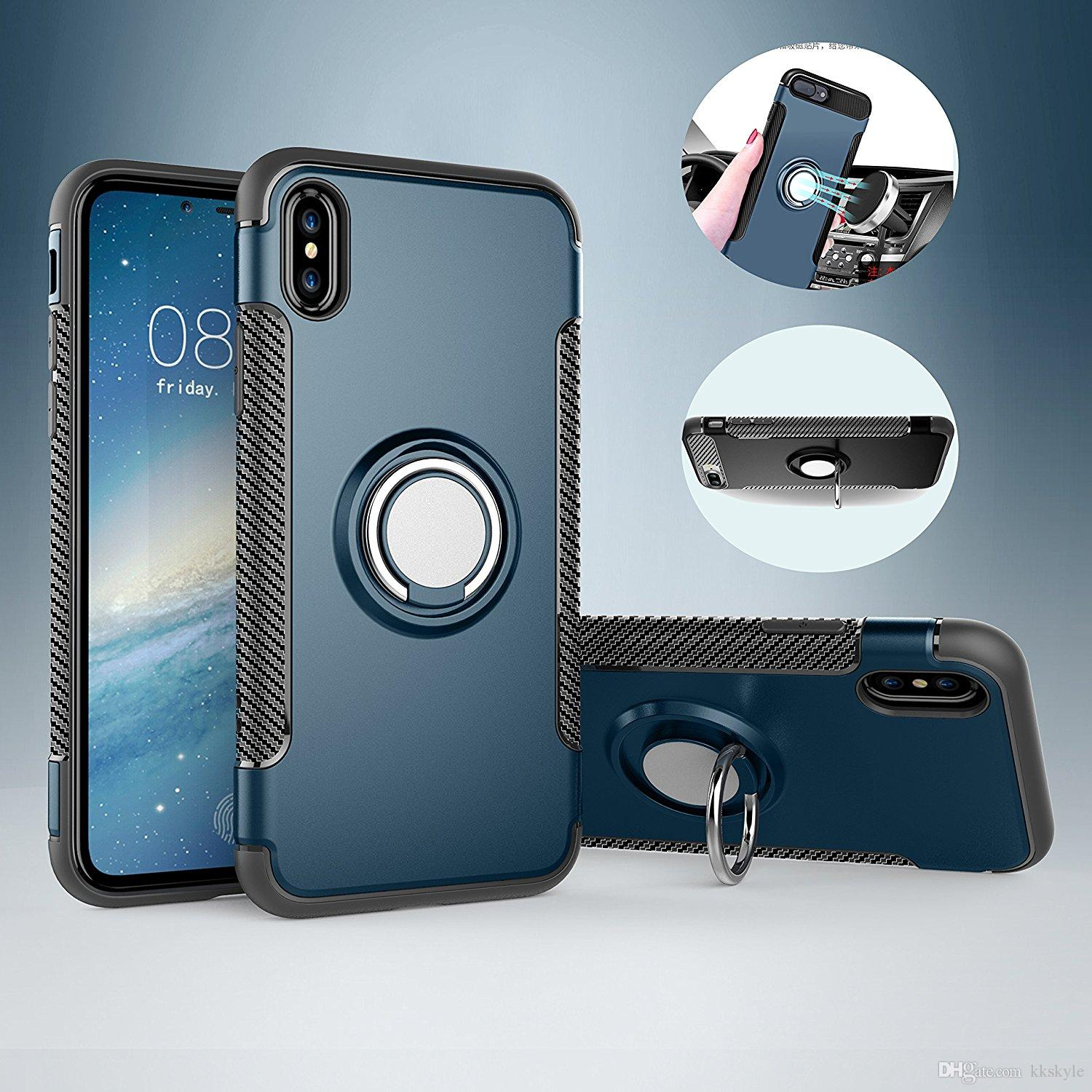 lowest price 8fb6e f8374 For iPhone X Case Cover Dual Layer Hard Silicone Rubber Hybrid with  Kickstand 360° Rotating Ring Grip Case Shockproof Impact Protection