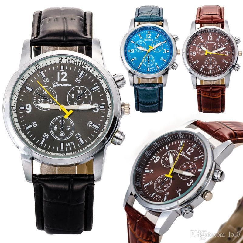 Fashion Hot Sell Vintage Men'S Watches Faux Crocodile Leather ...