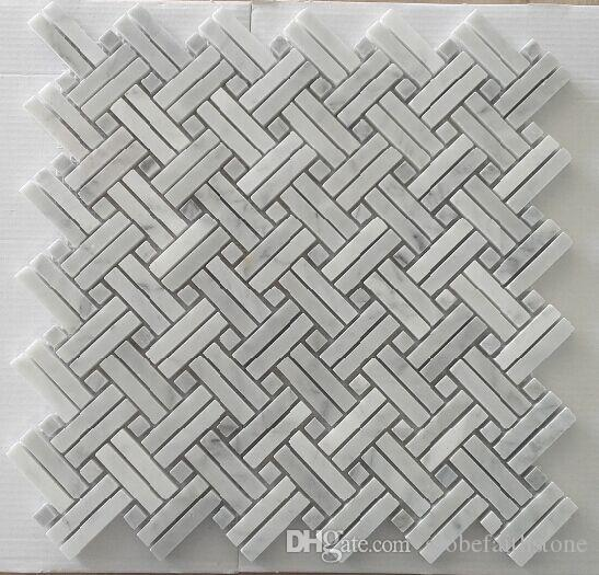 hot sale interlock white marble mosaic tile home decoration for feature wall waterproof kitchen backsplash bathroom floor decor herringbone mosaic tiles - Floor And Decor Backsplash