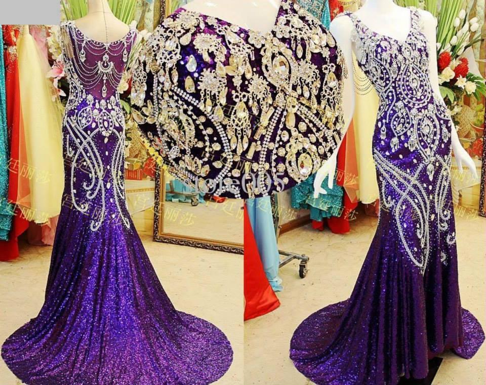 2018 Outono Inverno Lantejoulas Tecido Mãe da noiva Vestidos de Sereia Roxo Formal Vestidos de Noite Applique Cristal Frisado de Luxo Vestido de Baile