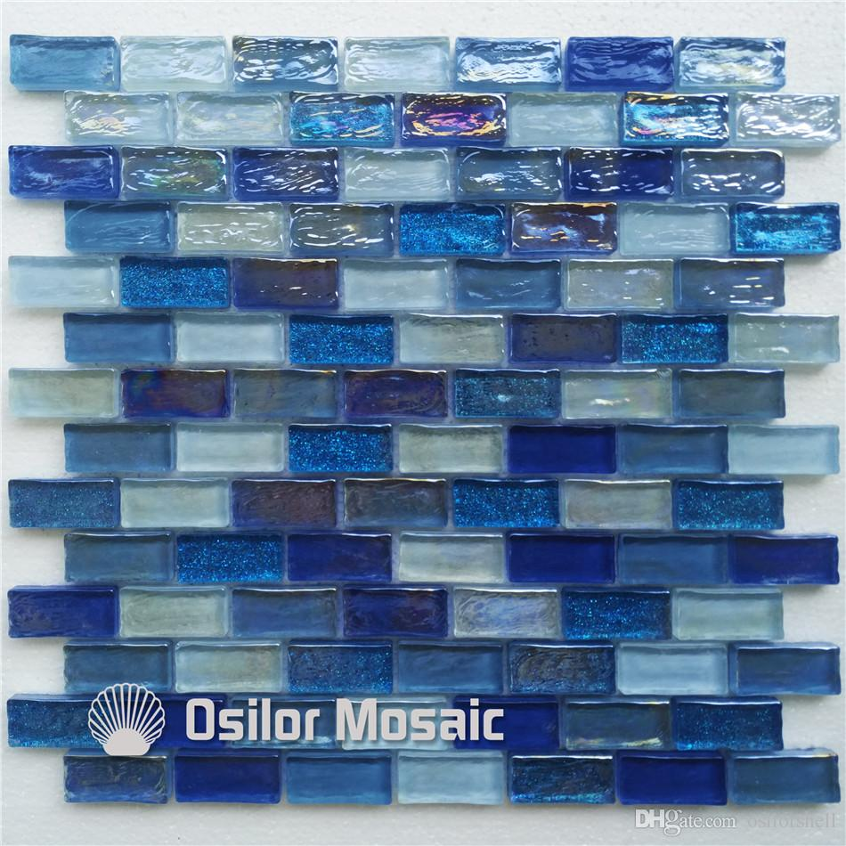 2017 white and blue glass mosaic tile for interior house