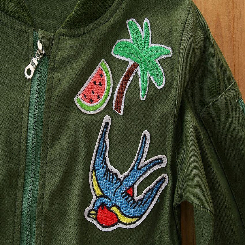 2018 Spring Autumn INS Baby Girls Jacket Kids Long Sleeveled Embroidered Baseball uniform Jackets Coat Children Fashion Casual Clothes