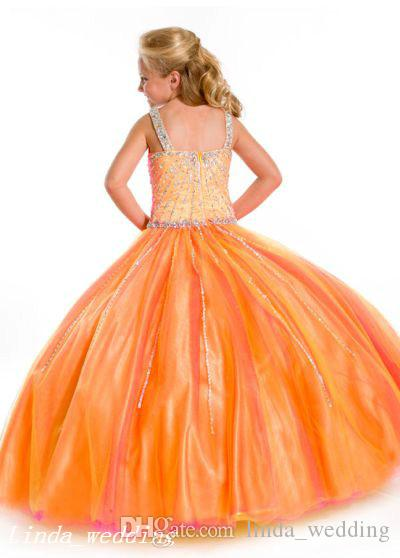 Sugar Burnt Orange Girl's Pageant Dress Princess Beaded Party Cupcake Prom Dress For Young Short Girl Pretty Dress For Little Kid