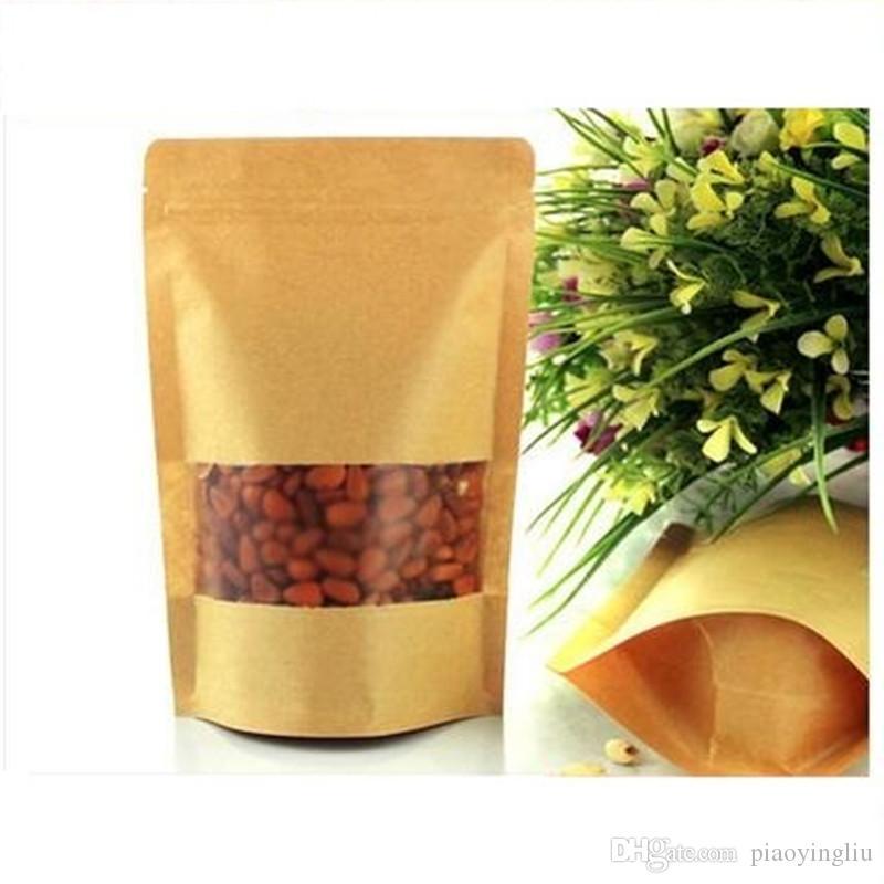 15 cm * 22 cm + 4 cm sacchetto di imballaggio di carta Kraft addensare Valvola sacchetto in piedi sacchetto cibo sacchetto di imballaggio del tè glassato finestra di apertura 100 pz