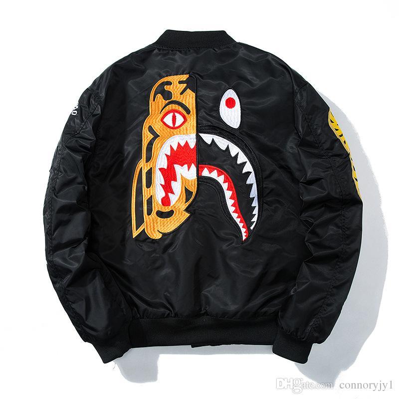 2017 NOVA Mens Jaqueta Bomber Hip Hop Preto Impresso Blusão Jaqueta Streetwear