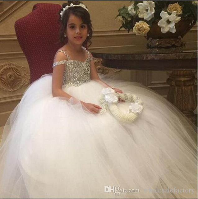 Pouco Princesa Branca Vestido de Baile Flor Menina Vestidos Frisado Cintas de Espaguete de Lantejoulas Tulle Longo Crianças Meninas Vestidos Formais vestido de Natal