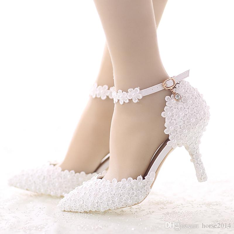 5850fe993d White Lace Flower Bride Dress Shoes Pointed Toe Stiletto Middle Heel  Wedding Party Shoes with Ankle Strap Bridesmaid Pumps