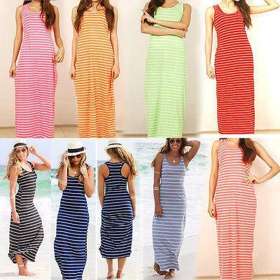 310237802d84d Sexy Women Summer Boho Long Maxi Dress Beach Sleeveless Tank Dresses Plus  SIZE Striped Cotton Femme VestidosS M L XL XXL