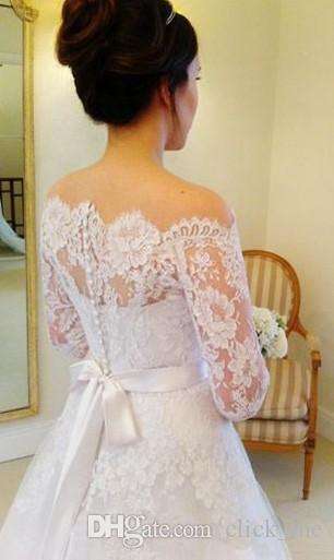 베일없는 이브닝 웨딩 드레스 Bateau Illusion 긴 소매 웨딩 드레스 스윕 트레인 뒤 커버 버튼 새시 리본 브라 가운