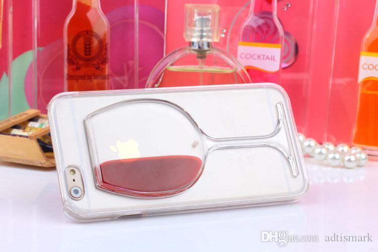 آيفون 7 حالة النبيذ الاحمر كوب السائل حالة شفافة لابل اي فون 8 7 7 زائد 6 6 ثانية زائد 5 5 ثانية الحالات الهاتف عودة يغطي