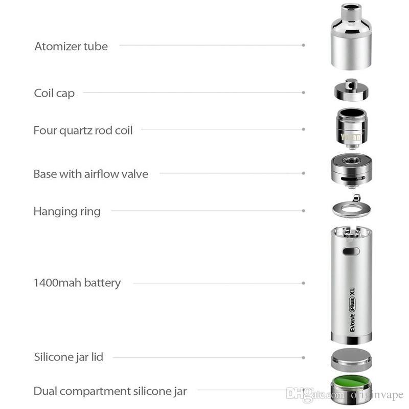 Otantik Yocan Evolve Artı XL Başlangıç Kitleri Wax 1400 mah WAX Kalem Buharlaştırıcı Kiti ile Silikon Kavanoz Quad Quartz Çubuk Bobin