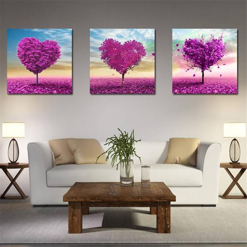 online cheap 3 panel canvas art purple tree landscape oil painting
