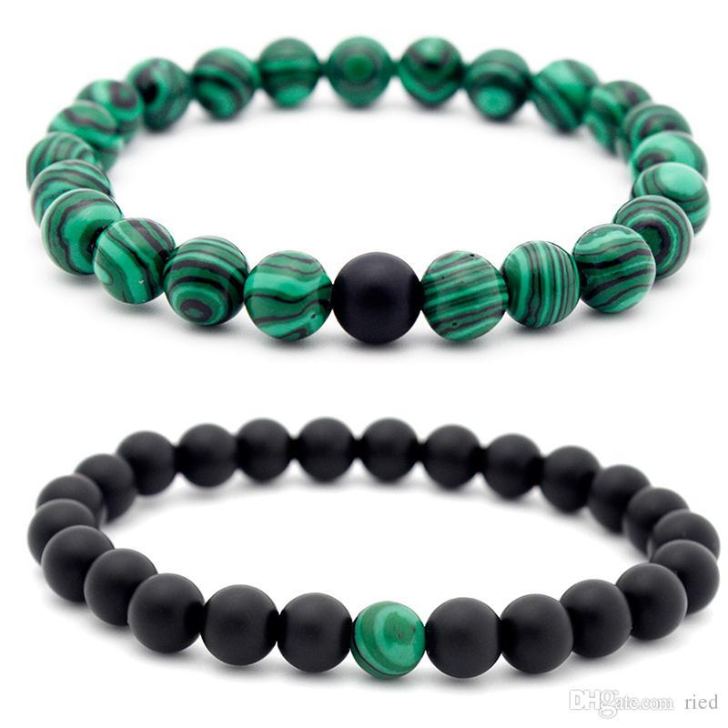 Nueva llegada malaquita Distancia pulsera de los encantos granos redondos elástico joyas pareja braclet para las mujeres de los hombres de la meditación