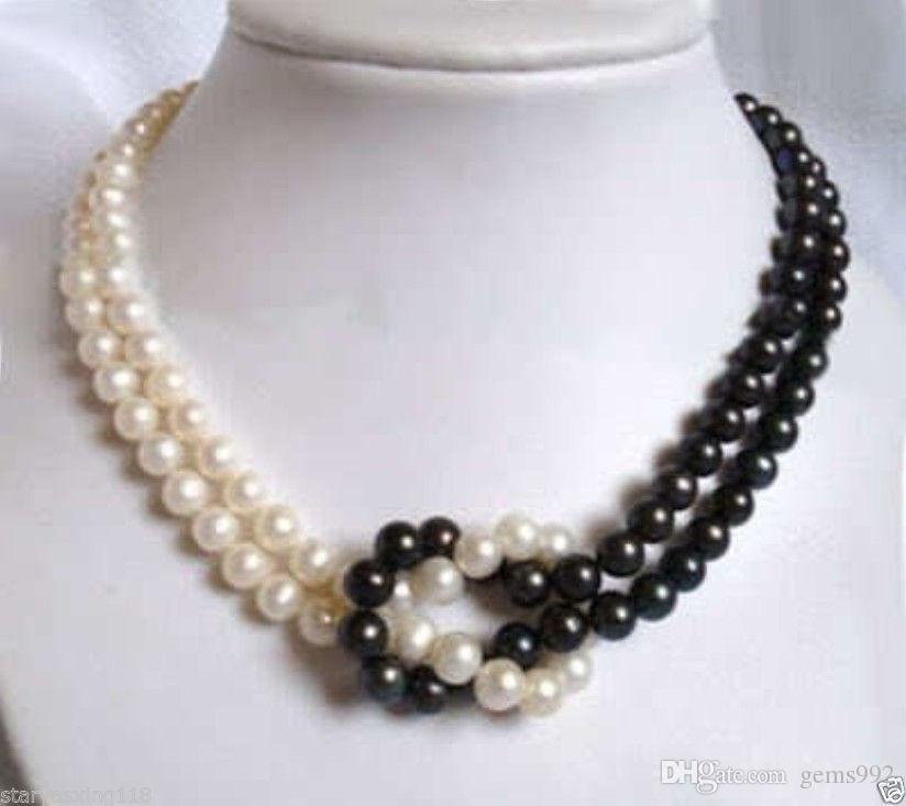 8742848697172d 2019 2 Rows 7 8mm White&Black Akoya Pearl Necklace 17 18 From Gems992,  $20.09 | DHgate.Com