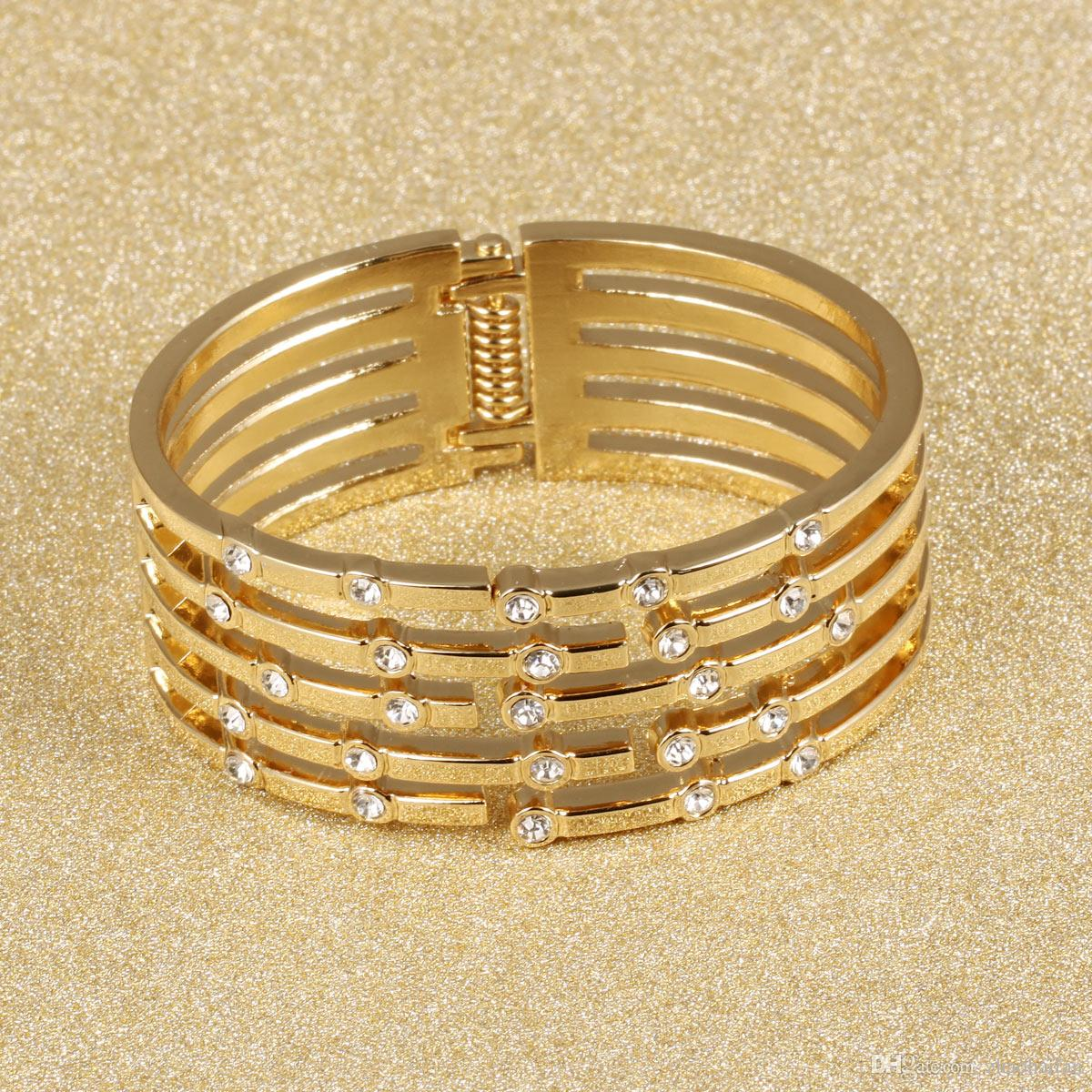 Gold Plated Bangle Woman Jewelry Wide Bracelet Open Bangle For ...
