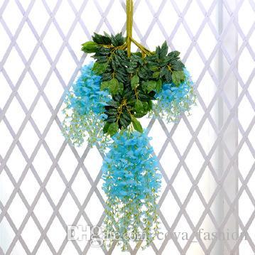 Venta al por menor Artificial Wisteria Vine rattan 110cm es decorativos Bouquet guirnaldas para el partido de la boda Home envío gratis