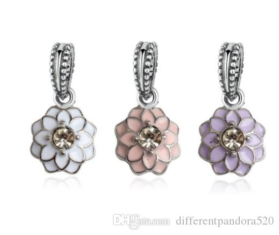 DIY Fashion 925 Silver lotus Charm European Spacer Beads Fit Necklace Bracelet #