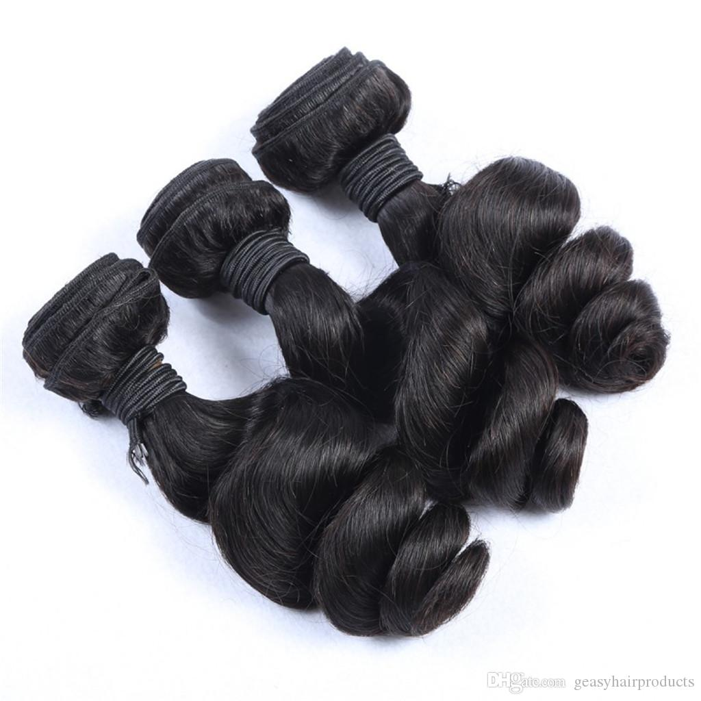 Unprocessed Human Hair Extensions Peruvian Loose Wave Natural Black Can Be Dyed Human Hair Weave 100g/pc G-EASY