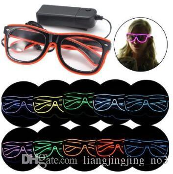 LED Party Glasses Fashion EL Wire Glasses Birthday Halloween Party Bar Decorative Supplier Luminous Glasses Eyewear CCA7198 100pcs