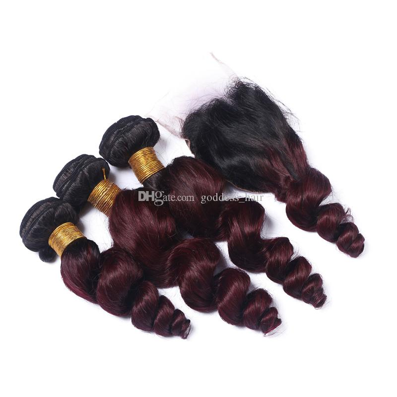 Ombre Color #1B/99J Loose Wave Hair Bundles With Lace Closure With Baby Hair Burgundy Lace Closure With Wine Red 9A Hair Extensions