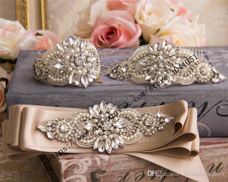 Größere Größe Strass Appliques Nähen auf Brautkleider Gürtel Rose Gold Silber Handmade Perlen Kristall DIY Braut-Accessoire