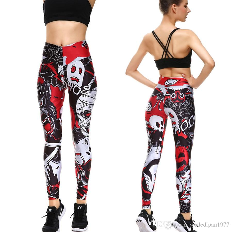 dcf1efbef73 Womens Skull Print High Waist Fitness Slim Bodycon Leggings Fashion  Halloween Bodybuilding Active Elastic Skinny Pants Jogging Pants Running  Pants Sports ...