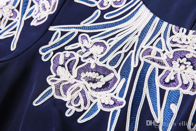 Старинные Вышивки Женщин Платье-Футляр С Бантом С Коротким Рукавом Работы Платья 0716132