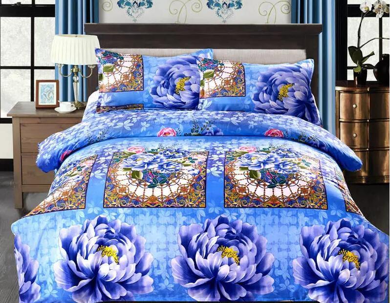 wholesale - Home textile thicken 1.6kg bedding sets Cotton cotton Reactive Print Include Duvet Cover,BedSheet,Pillowcase