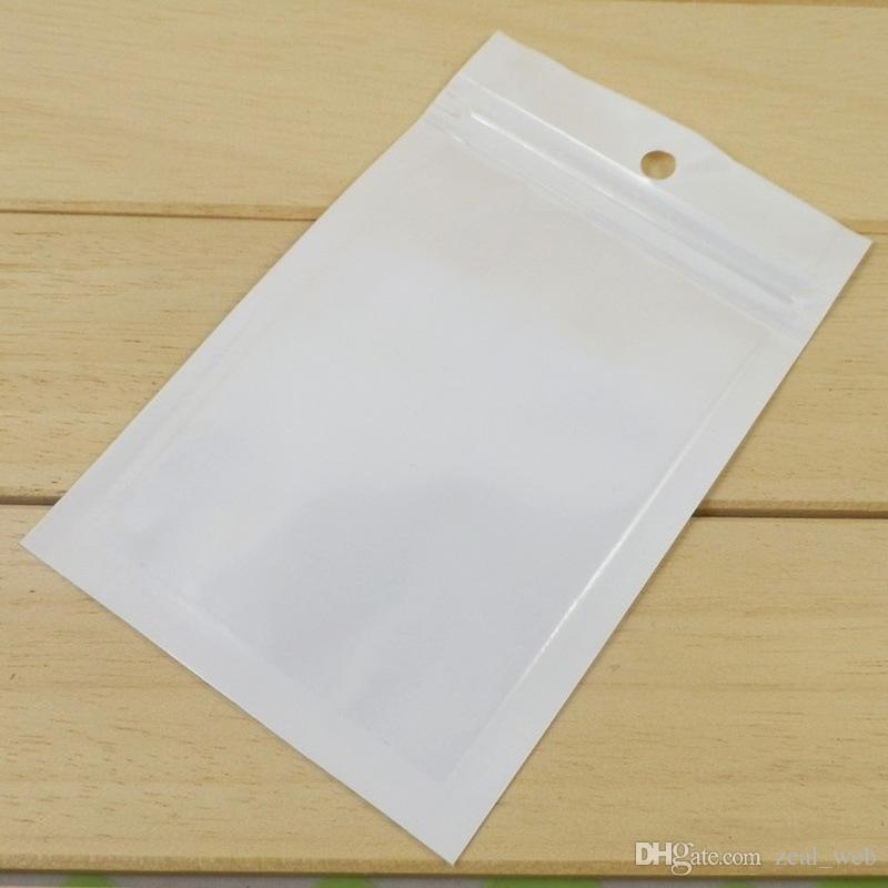 DHL SF_Express Cable de datos USB Paquete de embalaje Cargador de polietileno Agujero para colgar Bolsa de plástico transparente blanco PP 2