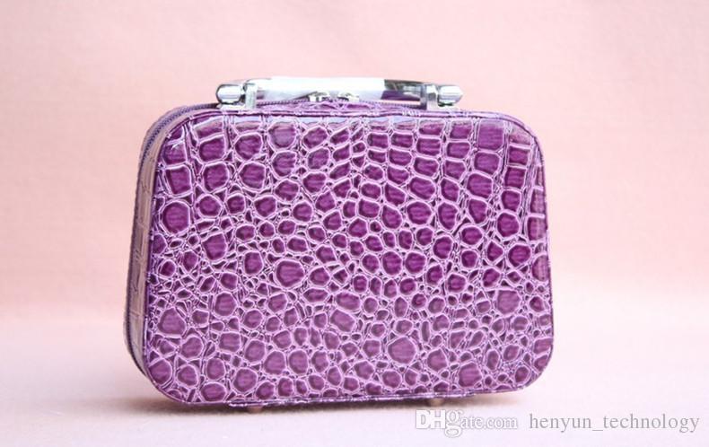 Bolso cosmético de alta calidad del bolso del maquillaje del bolso del cocodrilo de las señoras del modelo del cocodrilo del color del caramelo