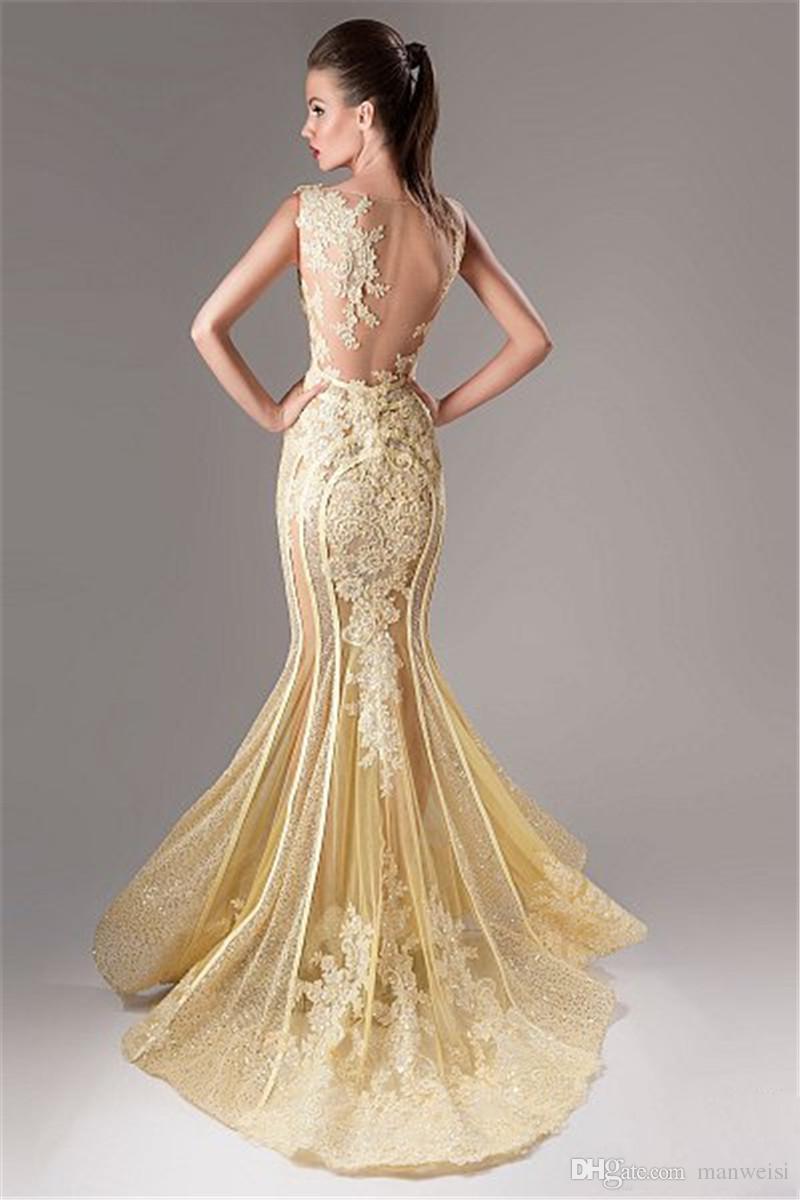 Elie Saab Vestidos Desgaste da Noite Rendas Applique Sereia 2019 Vestidos de Noite Sexy Lantejoulas Ilusão Longo Árabe Vestido Formal
