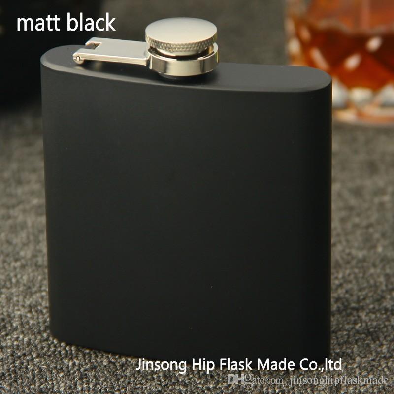 Bouchon à vis pour flacon d'alcool de bouteille de boisson alcoolisée noir mat 6oz, 100% acier inoxydable, soudure au laser, Logo personnalisé Gratuit