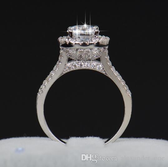 Vente chaude De Mode De Luxe Femmes Bijoux De Fiançailles 925 En Argent Sterling 5A ZC Cristal Zircon Femme De Mariage Doigt Fleur Anneaux