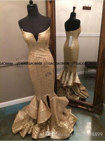 Real Photo Sparkly Spaghetti Straps Mermaid Long Gold Prom Dresses 2019 Sweetheart Ruffles Slit Front Evening Party Dress For Graduation