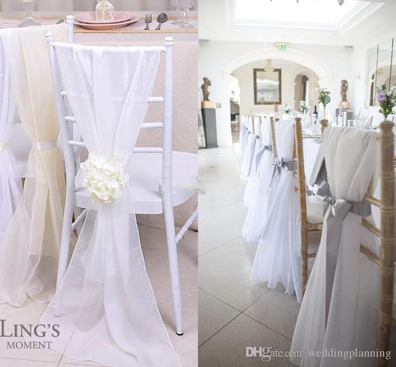 Factory Lovely Ivory New Chiavari Chair Sashes 30d Chiffon 150cm 50cm Wedding Covers DIY Bows Custom Made