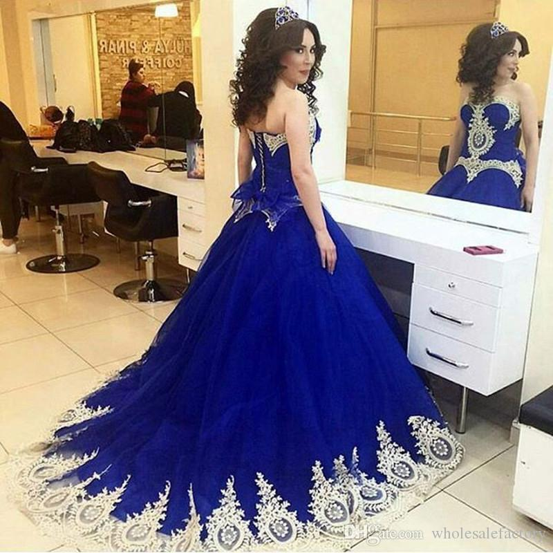 Saudi Arabic Royal Blue Dresses With Lace Appliques Sweetheart Dubai ...