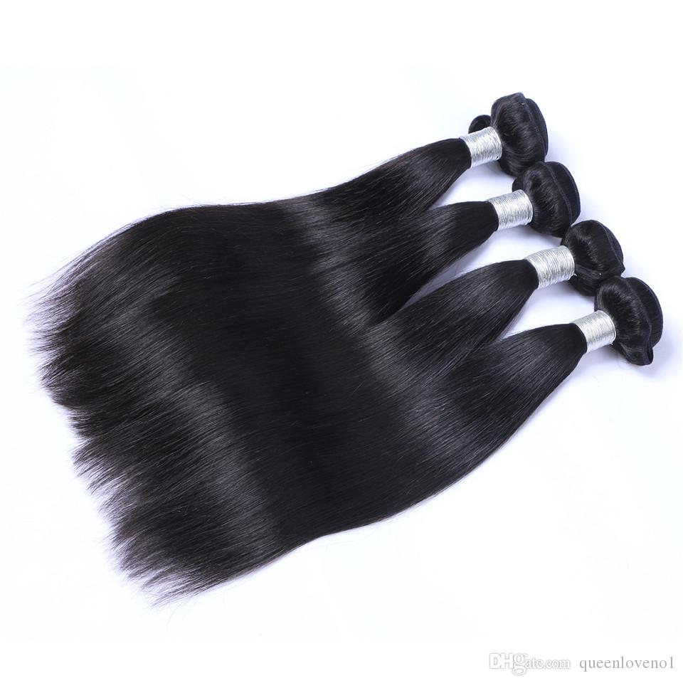 Peruvian Straight Hair Weaves 100% Unprocessed 8A Quality Human Hair Extensions Dyeable 3 bundlesNo shedding No Tangle