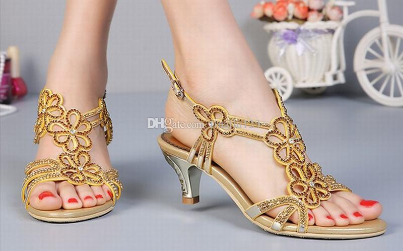 Big Size 44 Super Fashion 2016 Women Flowers Rhinestone High Heel Sandals  Ladies Summer Buckle Party Wedding Pumps Gold Crystal Female Shoes Ladies  Shoes ... 07404802c504