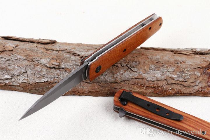 Drop Shipping DA100 Fast Open Flipper Knife 3Cr13 Titanium Blade Wood Handle EDC Pocket Folding Knives With Retail Box