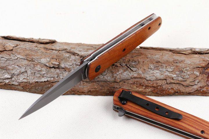 Envío de la gota DA100 rápido identificador abierto Flipper cuchillo 3Cr13 de la lámina de titanio de madera cuchillos de bolsillo plegable del EDC con Box