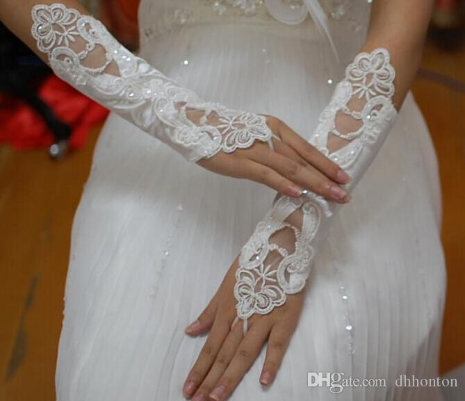 Cheap Fingerless Lace Beaded Below Elbow Length Wedding Bridal Glove Bridal Accessories bridesmaid Gloves HT116