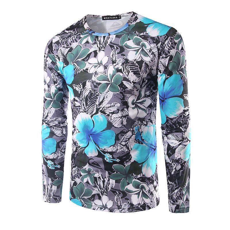 Floral Print Long Sleeved Tshirts Mens Hip Hop Pop T Shirt Brand ...