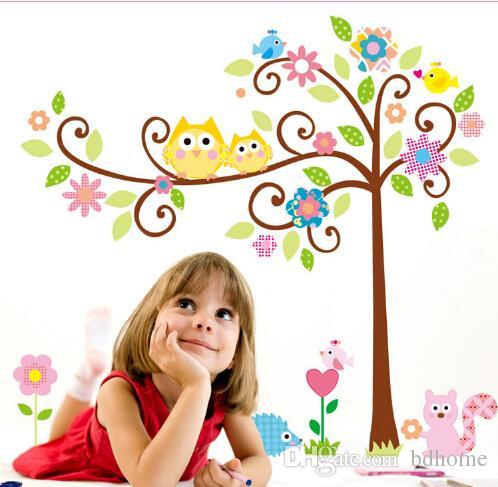 Yüksek kalite! 125 * 100 cm Sevimli Baykuş Ağacı Kabuğu Sopa Duvar Çıkartması Anaokulu DIY Sanat Vinil Duvar Çıkartmaları Dekor Mural ücretsiz kargo