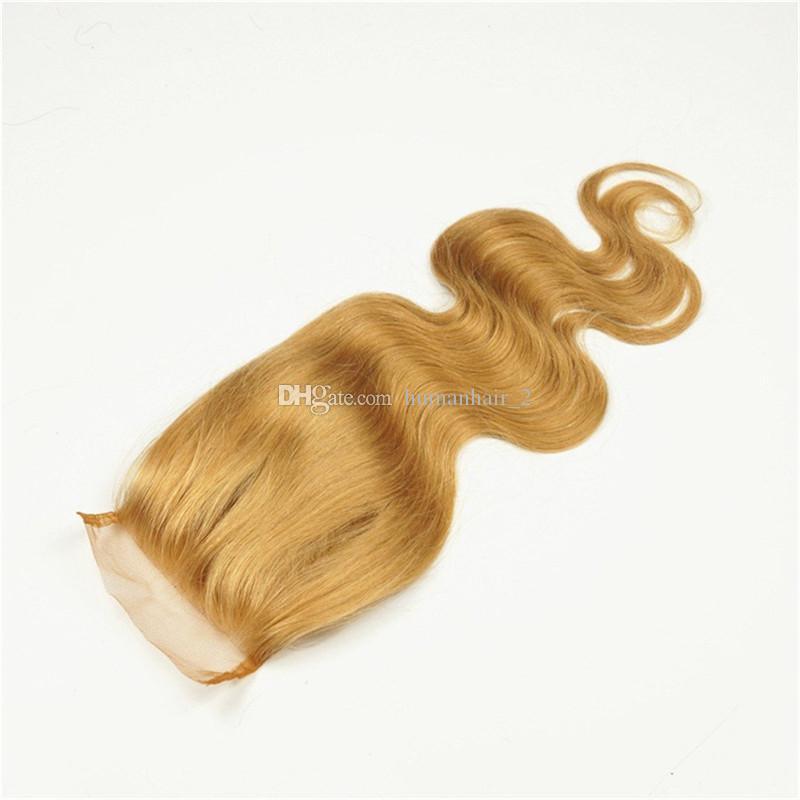 브라질 인간 머리카락 벌꿀 금발 # 27 Pre Plucked 4 * 4 레이스 클로저 바디 웨이브 말레이시아 버진 헤어 헤어 케어 DHL