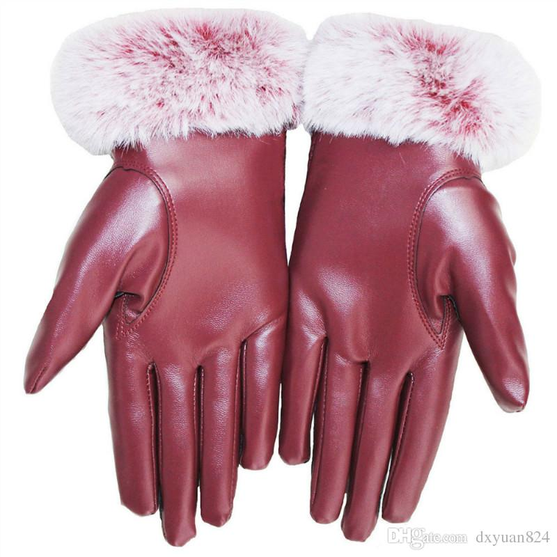 Elegant Womens Girls Winter Warm Touchscreen Rose Print Leather Gloves Thermal Lined Windproof Mittens Casual Club Party Driving Cycling