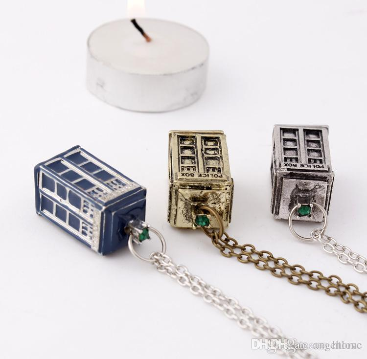 doctor who fashion necklaces doctor who 3d police box pendant necklaces christmas decorations gold silver blue xmas gift discount holiday decorations - Outdoor Police Christmas Decorations